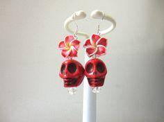 Day Of The Dead Earrings Sugar Skull Dangle by sweetie2sweetie, $8.99