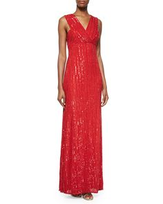Talena Sequined Surplice Gown, Crimson, Women's, Size: RG1/4 - Rachel Gilbert