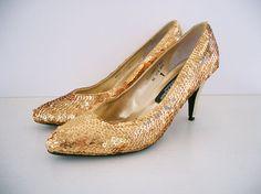VINTAGE Gold Sequin Heels by Valenti by openeyespressvintage, $30.00