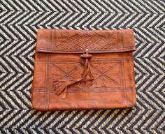 Leather Clutch Bag worn tooled vintage by superqueenieretro