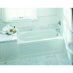 KOHLER, Devonshire 5 ft. Right-Hand Drain Integral April Tile Flange Bathtub in White, K-1184-RA-0 at The Home Depot - Tablet