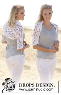 """5813440a69a5 Crochet DROPS bolero with lace pattern and double crochet in """"Safran"""". Size"""