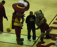 The Cleveland Cavaliers mascots. Captian C.C. and Moondog.