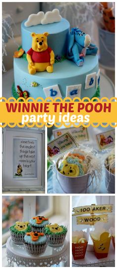 A Winnie the Pooh and friends baby shower with cake, cupcakes and cake pops!  See more party planning ideas at CatchMyParty.com!