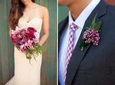 Romantic Fall Wedding Inspiration  Flower textures. Really like the bouquet (add little more vibrant fuchsia to the mix) and like the berries for the boutonniere