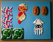 Super Mario Brothers Character Montage (Set of 4) Perler Beads on Canvas Piece. $130.00, via Etsy.