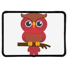 """red owl. Rectangle Sublimatable Patch with Adhesive & Black Border (3 1/2"""" x 2 1/2""""), made in polyester. This funny accessory is perfect for any use. Buy 6 and get 20% OFF!.. Owl Kids, Red Owl, Adhesive, Patches, Amp, Funny, Accessories, Black, Products"""