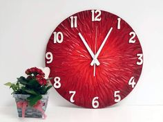 Red Sun Wall Clock Home and Office Decor Unique Handmade Gift Idea