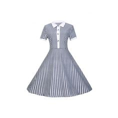 Plaid Buttoned Flare Dress (22 CAD) ❤ liked on Polyvore featuring dresses