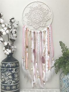Pink and Gold Dream Catcher, Pink Dreamcatcher, Pink and Gold decor, Pink and Gold Nursery Decor, Baby Shower Gift, Large Dream Catcher by ShopWildCotton on Etsy https://www.etsy.com/listing/502474451/pink-and-gold-dream-catcher-pink