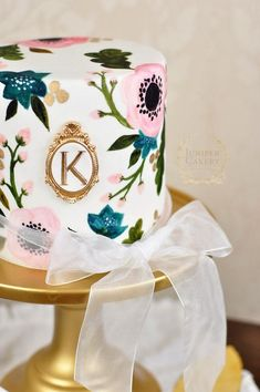 Painted Floral Wedding Cake with Gold Detailing from Juniper Cakery