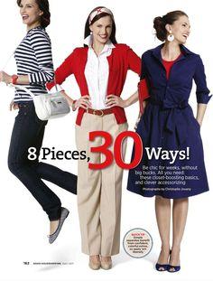"""Meg fogtok lepődni, ezt a kombinálható ruhatárat nem egy japán újságban láttam, hanem az amerikai Good Housekeeping idei áprilisi számában. Jó, hogy egyre több helyen téma a kombinálhatóság. :) A ruhák nagyon csinosak, hordhatók, bár hiányolom a japán újságokban megszokott """"csoportképet"""" a résztvevőkről, itt csak a kombinációkat fotózták le, és szöveges lista van az alapruhatárról, és az egyes kombinációk mellett sem jelölik, hogy melyik ruhadarabok szerepelnek benne. Nem baj, lesz"""