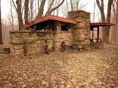 Art Studio (2nd structure) Louis Penfield House .1955. Willoughby Hills. Cleveland, Ohio. Usonian Style. Frank Lloyd Wright. Structure was never finished.