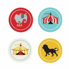 Circus Carnival Party Decorative Mini Stickers (Set of 32)