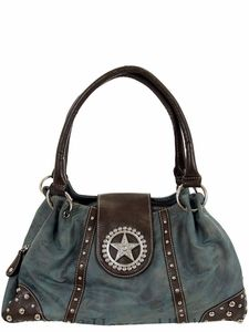 48ddaecd538 Nocona Blue Faux Leather w  Star Concho  amp  Rhinestones Handbag N7515827   blazinroxx
