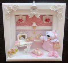 Quadro personalizado com nome do bebe  e as cores do quartinho ,mudamos a decoração de acordo com seu pedido. R$ 290,00 Craft Projects, Projects To Try, Kit Bebe, Baby Presents, Baby Kit, Fairy Houses, Box Frames, Baby Cards, Girl Nursery