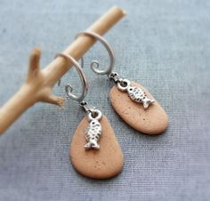 Sea Treasure Collection- Fish and Pebble Earrings