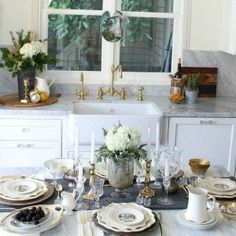Farmhouse Glam Kitchen tablescape http://mysoulfulhome.com