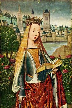 Sainte Catherine - Unknown Flemish artist - century -- add self portrait or family faces to old paintings? Medieval Paintings, Renaissance Paintings, Old Paintings, Medieval Books, Medieval Art, Medieval Fashion, Medieval Clothing, Catholic Art, Religious Art