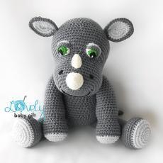 Amigurumi Rhino Toy Crochet Pattern by Viktorija Dineikiene Animal Knitting Patterns, Amigurumi Patterns, Crochet Patterns, Crochet Ideas, Crochet Animals, Crochet Toys, Crochet Baby, Crochet Teddy, Sport Weight Yarn