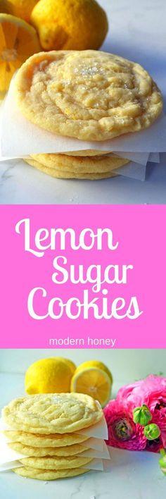 Lemon Sugar Cookies made with fresh lemon zest. The perfect soft and sweet lemon cookie. www.modernhoney.com