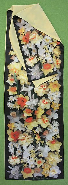 From my neighbor's garden. Scanner Photography By Ellen Hoverkamp — Lined Silk Daffodil Scarf Daffodils, Order Prints, My Images, Note Cards, Still Life, Photographs, Clouds, Silk, Pattern