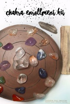 I am offering my first Enrolment Kit this month only:  •You will receive 3 free essential oil blends from doTERRA * Balance, Serenity, & Citrus Bliss*   •A spiral crystal grid that I personally hand burnt into Cherry Wood   •All chakra stones and a quartz generator seen in the picture   •A stick of Palo Santo   •A Lemurian Quartz Wand   •Access to our team FB group, for support in all courses   •Plus free tuition into 3 Holistic online courses (The Crystal healing course has a