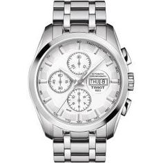 Tissot Couturier Automatic Chronograph Watch with Silver Dial and Stainless Steel Bracelet Tissot Mens Watch, Swiss Automatic Watches, Luxury Watches For Men, Watch Brands, Stainless Steel Bracelet, Cool Watches, Chronograph, Display, Products