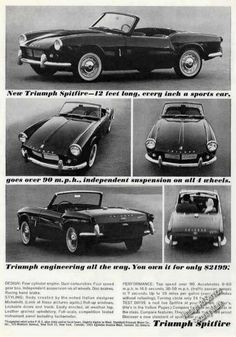 A 1963 advertisement for the Triumph Spitfire. Black and white photo close of print for this sleek convertible. -An original 1963 Triumph Spitfire advertisement print -Measures: x original siz Vintage Sports Cars, British Sports Cars, British Car, Triumph Motor, Triumph Car, Coventry, Triumph Spitfire, Cabriolet, Car Advertising