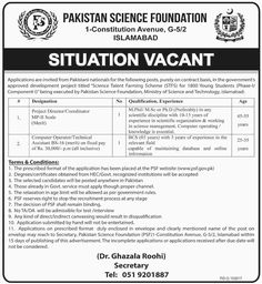 Pakistan Job Alert: jobs-in-Pakistan-Science-Foundation-21-Sep-2017