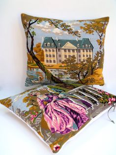 PAIR UNIQUE French Vintage Needlepoint  Silks by Retrocollects £70 https://www.etsy.com/listing/462956250/needlepoint-french-tapestry-classical?ref=shop_home_active_2