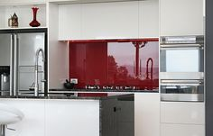 red splashback for kitchen