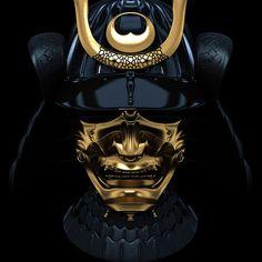 Samurai Mask In Gold And Black