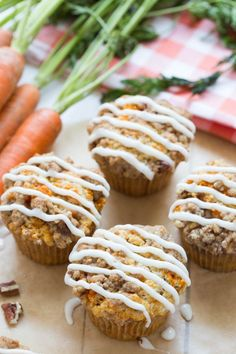 Carrot Coffee Cake Muffins with Cream Cheese Icing is the perfect treat for brunch of snack!