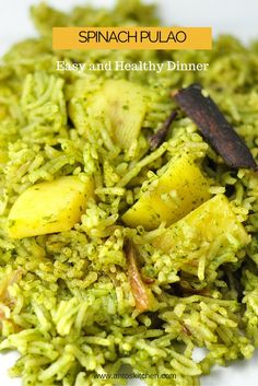 Spinach rice or palak pulao in India is a healthy and flavorful green rice dish made with spinach and spices in 30 minutes. #antoskitchen #spinach #pulao #palak