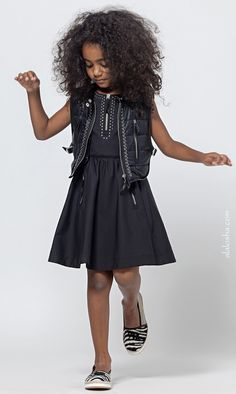 ALALOSHA: VOGUE ENFANTS: Stunner!! The Ermanno Scervino's Juniors look breathtaking in black leather variations from SS'15. Every stylish little girls must own!