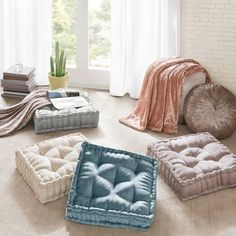 Create a cozy retreat anywhere in your home with our Intelligent Design Azza Chenille Square Floor Pillow Cushion. This floor pillow is featured in a lustrous color palette for the perfect feminine flair in a living room or bed space. Square Floor Pillows, Square Pouf, Floor Cushion Couch, Kids Floor Cushions, Floor Couch, Floor Beds, Outdoor Floor Cushions, Intelligent Design, Boutique Deco