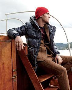 J.Crew men's hooded puffer jacket, Wallace & Barnes suit jacket, Wallace & Barnes suit pant, and cashmere hat.