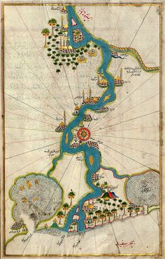 """'Map of the River Nile from its Estuary South' from the illuminated manuscript """"Book on Navigation"""" (""""Kitab-ı Bahriye"""") by Turkish writer and Ottoman Admiral Piri Reis via RenfieldsGarden on Etsy Vintage Maps, Antique Maps, Photographie National Geographic, Piri Reis Map, Map Quilt, Map Globe, Old Maps, Historical Maps, Illuminated Manuscript"""