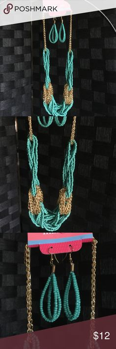 Beaded Aqua & gold choker/statement necklace set New! Neat costume jewelry set of a necklace & matching earrings!! A neat aqua & gold beaded & chain design! Neat colors the earrings are French hook hang design & the necklace is beaded & twisted type design with gold chain link that is adjustable from choker length to a little bit longer statement type length! This is a neat design, neat colored & super stylish!! ~Any questions, please ask!! Thank you & Have a happy day!! ☀️✌🏻️💕😊🛍 Mix…