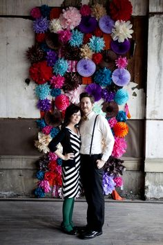 Idea for Christmas Photo Card Pose - Love this DIY backdrop! Via @Elsie Larson of A Beautiful Mess