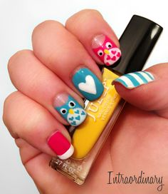 Pink & Turquoise Owl Nail Art Using - China Glaze: White on White, Kiss: Black, Julep: Lexie (Yellow), Julep: Raegan (Pink), Essie: Cab-ana (Turquoise)