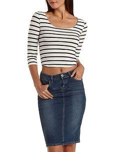 T-Back Striped Crop Top: Charlotte Russe #croptop