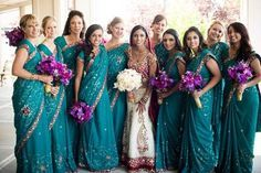 purple silver bridesmaids saree - Google Search