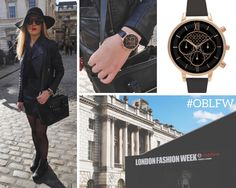 We hit the cobbles of Somerset House in search of some street style inspiration - we love this all black outfit teamed with our Black and Rose Gold Chrono! <3  #OBLFW