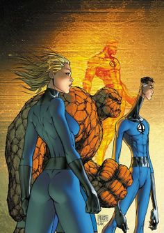Fantastic Four cover by Michael Turner 2007 Comic Book Artists, Comic Book Characters, Marvel Characters, Comic Books Art, Comic Art, Ms Marvel, Marvel Comics Art, Marvel Heroes, Michael Turner