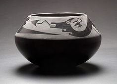 Maria Martinez (1887–1980) and Julian Martinez (1879–1943)  San Ildefonso Pueblo, New Mexico  Bowl with plumed serpent, ca. 1925  Coiled and burnished earthenware