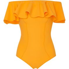 Lisa Marie Fernandez Mira Flounce Off-The-Shoulder Ruffled Swimsuit Yellow Bathing Suit, Bathing Suits One Piece, Yellow Bikini, Ruffle Swimsuit, Swimsuit Tops, Bandeau Bikini, Off Shoulder Bathing Suit, Bodysuit Tops, Spring Summer