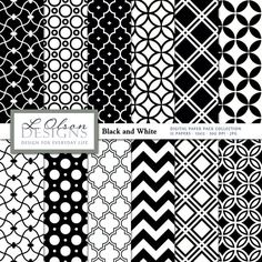 Black und White Paper Pack  12 digitale Papier Muster