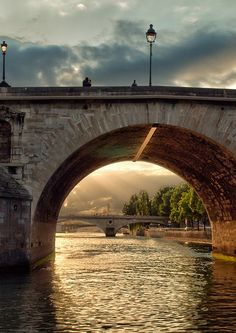 Bridge on The River Seine Paris France. We took the sunset cruise and it was totally worth not getting in bed until 1am. When the boat turned around in the river and I saw the Notre Dame cathedral lit up with the sunset, I got goose bumps.